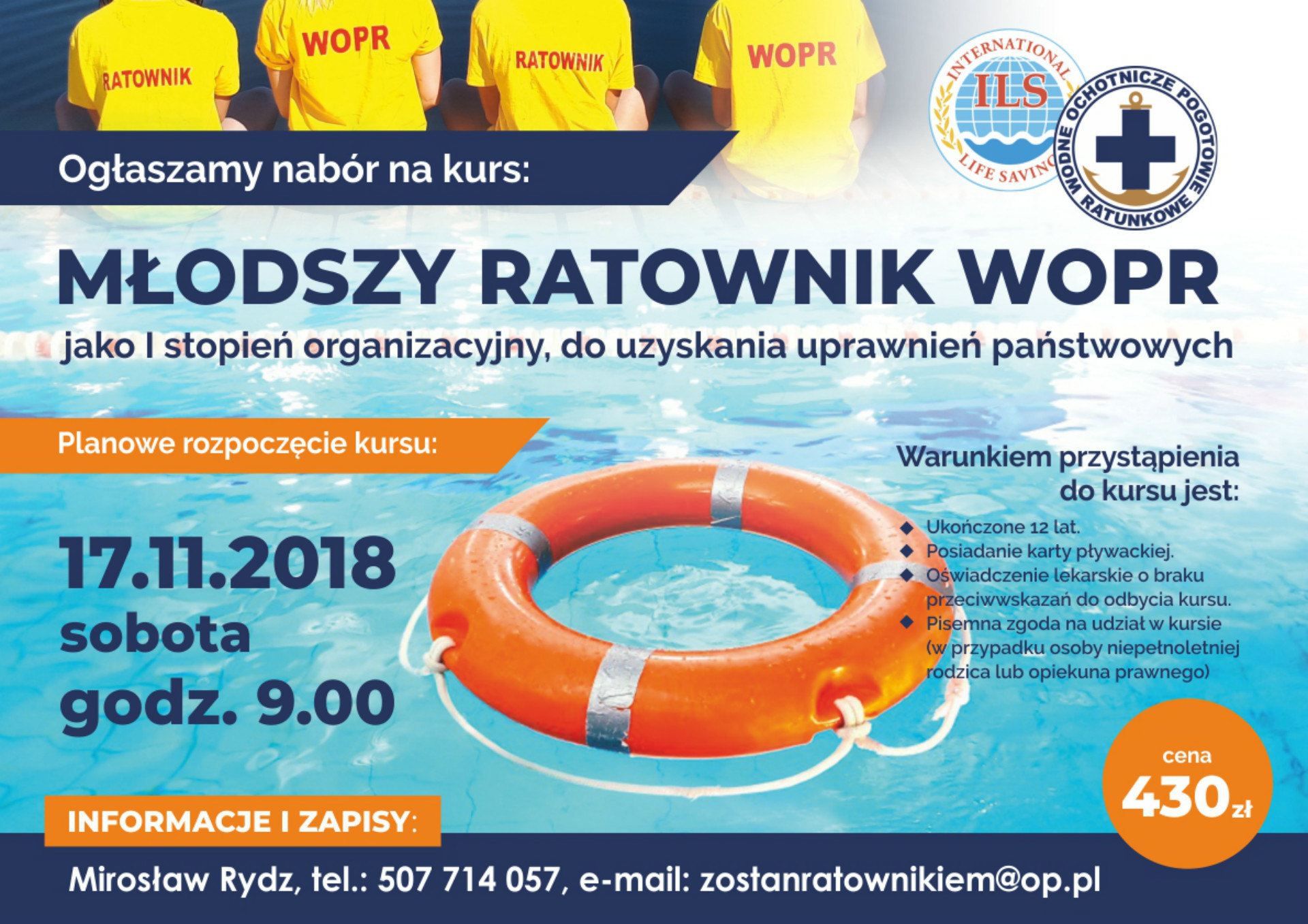 Rusza kurs – młodszy ratownik WOPR!