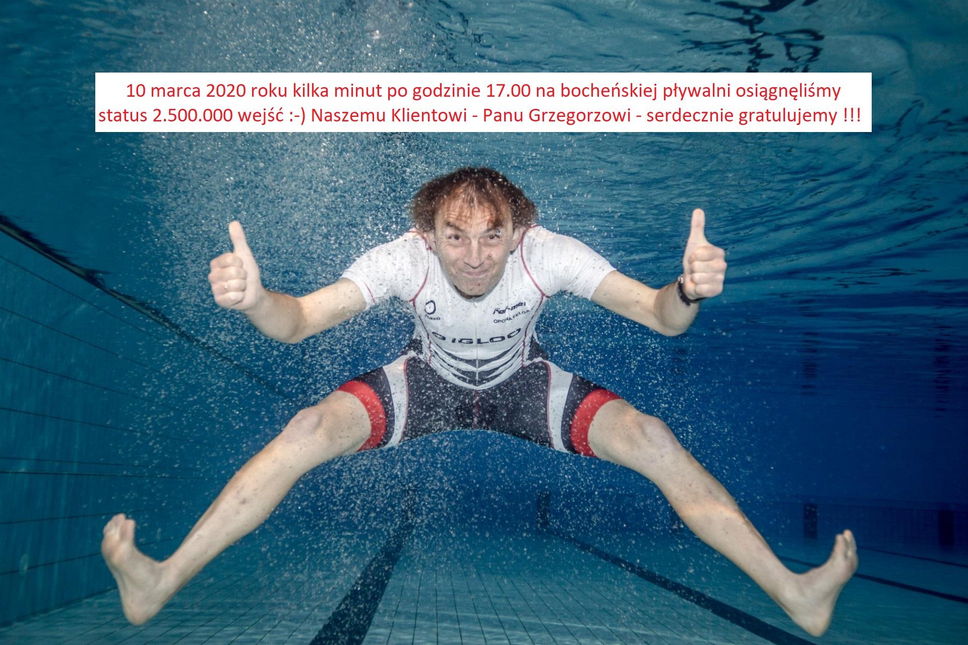 10 marca na pływalnię w Bochni wszedł 2,5 mln Klient